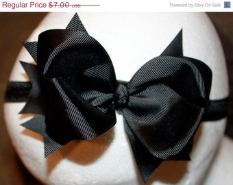 Boutique Baby Girls Black Elastic Headband with Black Large Hair Bow Perfect for Everyday or Christmas Holidays