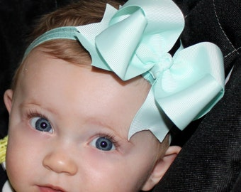 Boutique Baby Aqua Elastic Headband with Aqua Large Hair Bow Perfect for Everyday or Photo Prop