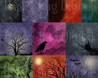 Dark & Stormy Halloween Digital Paper Pack 10 Sheets Commercial Use OK - INSTANT DOWNLOAD