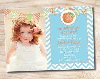 LITTLE Peach First 2nd 3rd Birthday Photo Party Invitation Printable diy Customizable
