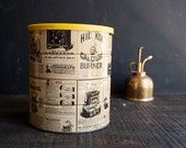 Metal Storage Tin Can - Vintage Newsprint - TheVintageParlor
