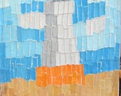 On Sale White Lighthouse Seascape paper collage Mixed Media