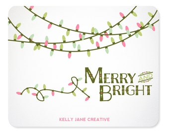 Pastel Christmas Lights Clipart includes strands in White and in Green- Blog Graphics - Instant Download