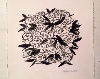 Black and White Roses on Square White Paper