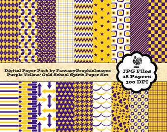 School Sports Team Spirit Digital Paper Pack - Purple Gold - 18 Papers - School Team Colors - Scrapbooking - Instant Download