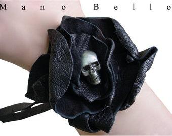 Steampunk Skull & Leather Flower Bracelet, Black Leather Flower Cuff with Skull Center, made to order Black Wedding , Steampunk Wedding