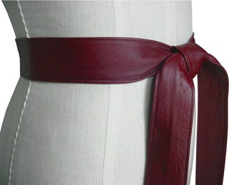 Classic Leather Tie Belt Fashion Belt Basic Leather Wrap Belt Italian Lambskin leather Oxblood Wine Burgundy Lambskin Xsmall -small - medium