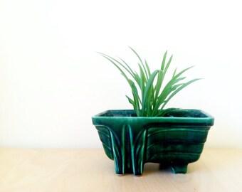 vintage green art deco USA Pottery planter