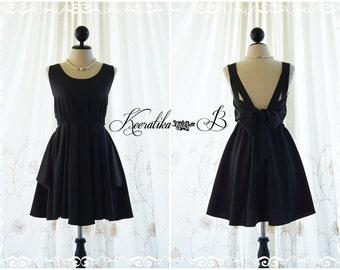 Black cocktail dress prom bridesmaid party dress