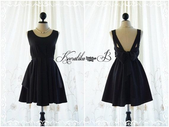 Black dress black party dress black prom dress black cocktail dress bow back dress black bridesmaid dresses little black dress backless