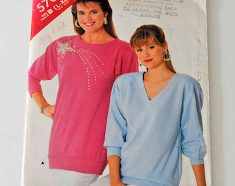 Butterick See & Sew Pattern Number 5706 Misses Top   Misses Size L (16-18)  XL (20-22)  Pattern Number 5706