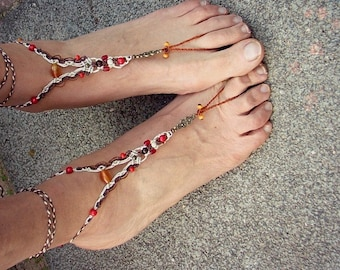 Gypsy macrame barefoot sandals lovely red happy feet jewelry bridal anklet bohemian shoes - tagt team