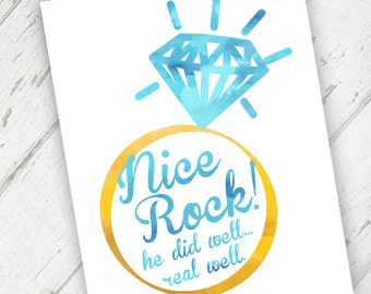 "Funny, Congrats Engagement Wedding Card - ""Nice Rock"", Bright Blue & Yellow - Qty. 1"