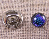 """Tie Tack - Dichroic Glass - Tiny 1/4"""" 7mm - Peacock Green Purple Tint & Golden Halo Pinch pinScarf Pin Flair for Suspenders Hat or Coat"""