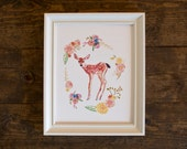 Baby deer print - fine art print - animal illustration - woodland - floral frame - hand painted - flowers
