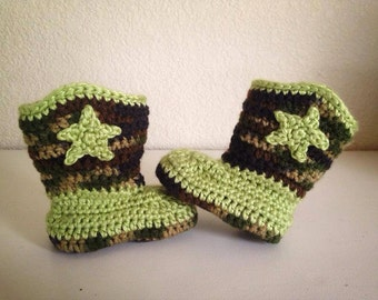 Baby camo cowboy booties crochet. Made to order