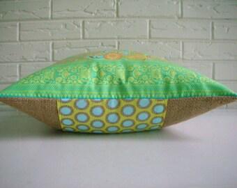 SALE Indian Sari Pillow Cover - Green and Pink Bohemian Throw - Green Indian Pillow