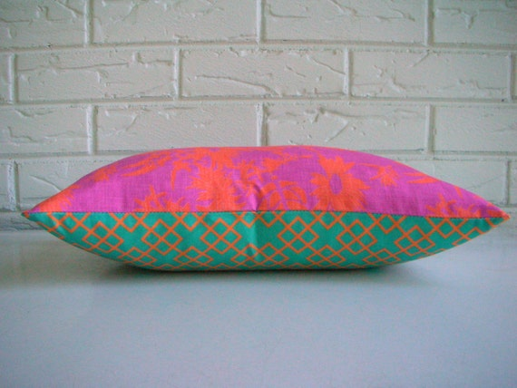 Colorful Boho Pillow Cover - Fuchsia Orange Teal Floral and Lattice Print - Bohemian Décor