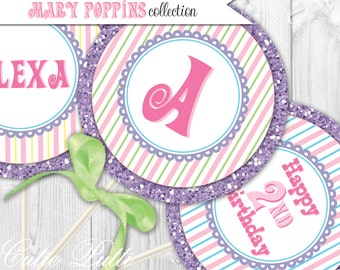 "Mary Poppins Party Printable 4"" Custom Party Circles by Cutie Putti Paperie"