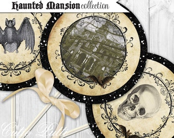 Haunted Mansion Party, Halloween Party, Haunted House Party - PRINTABLE 4inch THEMED Party CIRCLES - Cutie Putti Paperie