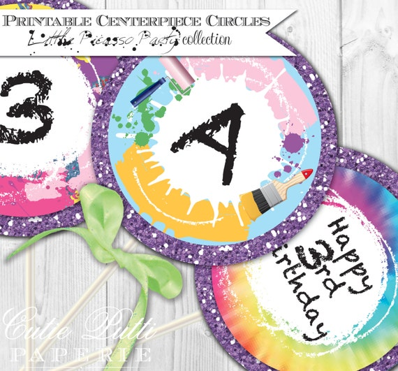 """Painting Party Printable 4"""" Custom Party Circles by Cutie Putti Paperie"""