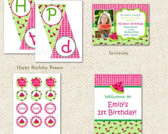 Watermelon Picnic  DIY Printable Birthday Party Pack Party Package