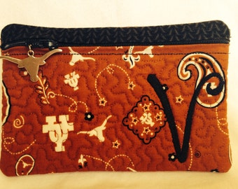 University of Texas Longhorn  Zipper Pouch