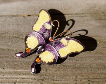 Chinese Export Gilt Enamel Butterfly Brooch