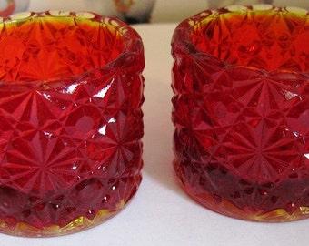 CLEARANCE   Degenhart Amberina Glass Daisy and Button Salt Cellars