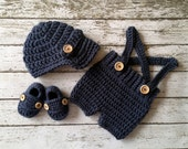 Oliver Newsboy Cap with Crochet Baby Shorts/Pants and Matching Booties in Denim Blue Avaialbe in Newborn to 6 Month Size- MADE TO ORDER