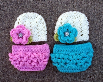 Twin Ashlee Beanies in Ecru, Baby Pink, Teal and Green with Matching Diaper Covers Available in Newborn to 24 Month Size- MADE TO ORDER