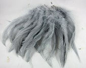 feathers Strung Schlappen Dyed Blue Dun Grey gray 6 to 8 inches  SCH-13