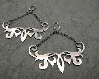 Tattoo Design Hand Pierced Sterling Silver Earrings