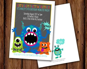 Friendly Monster Mash Birthday Invitation - Monster Mash - Not So Scary Monster Birthday