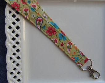 Fabric Lanyard Badge ID -  Paisley & Flowers on Sage Green