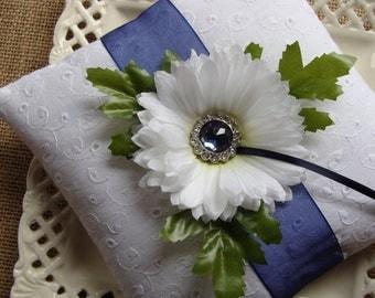 Wedding Ring Bearer Pillow - White Gerbera Daisy on White Cotton Eyelet