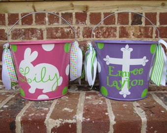 Personalized 5 qt. Metal Easter Bucket / Basket - Lots of designs and bucket colors