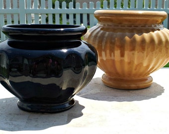 Vintage Mid Century Greek Style Fluted Footed Planter Vase - Your Choice of Black or Camel - Roseville Pottery