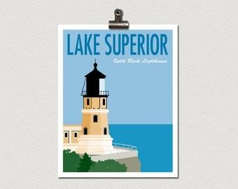 Split Rock Lighthouse Lake Superior Minnesota Roadside Attraction Travel Poster Print