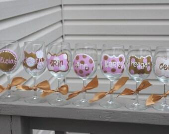 personalized wine glass, wedding party wine, bachelorette wine glasses, hand painted wine, girls weekend wine glass, fun wine