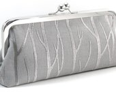 Silver Evening Bag Clutch - Gray Purse - Grey Embroidered Trees Metal Frame Handbag