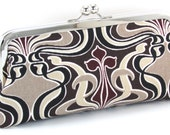 Art Deco Clutch -  Black Brown and Taupe -  Evening Bag - Metal Frame Purse