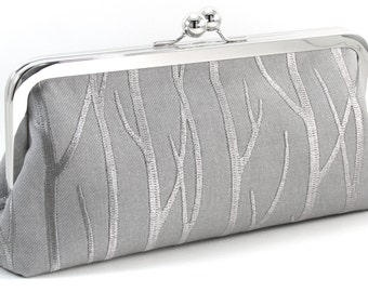 Bridal Clutch Purse - Silver Wedding Bag  - Embroidered Winter Gray Bride Handbag  - Bridesmaid Gift
