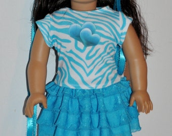 Wild at heart- skirt and top outfit  that fits AMERICAN GIRL DOLLS