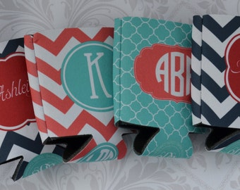 Personalized Bachelorette Can Cooler - Front & Back - Perfect Bridesmaid/ Bridal Party Gifts- Customize Colors