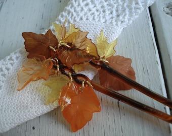 Vintage Comb Tortoise Color France Hair Picks Lace Edge Gold Autumn Fall Foliage