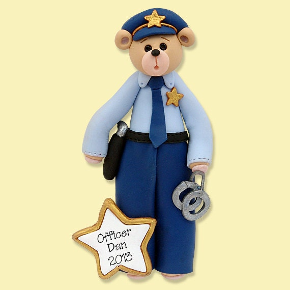 Belly Bear POLICE MAN / COP Handmade Personalized Christmas Ornament