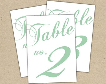 Table Numbers Instant Download - Classic Table Numbers Templates in Seafoam, mint, green 5X7 - modern design DIY. Wedding reception (11-20)