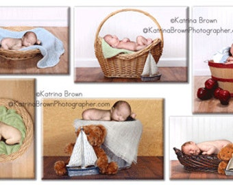 Digital Photography Backgrounds: Babies in Baskets Sampler 1