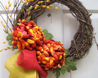 Fall Wreaths for Front Door, Autumn Wreath, Thanksgiving Wreaths, Outdoor Wreaths, Fall Decorations, Fall Orange Gold Mum Wreath, Burlap Bow